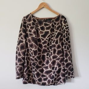 Elie Tahari Animal Print 100% Silk Blouse